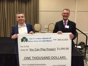 Jack Bergen, GALA Chair, presents check to Patrick Burke co-founder of You Can Play