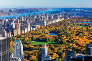 View over Central Park and the Upper West Side skyline, Manhattan, New York City, New York, USA